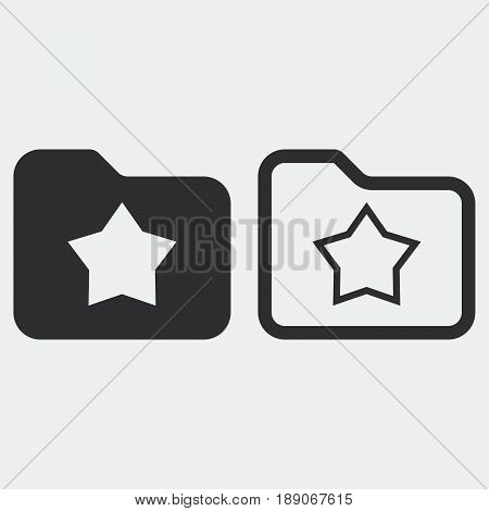 favorite folder icon solid and outline isolated on grey
