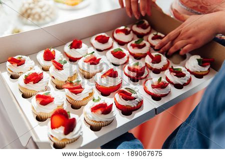 Candy bar. Wedding reception table with sweets candies dessert meringues fruit tart cupcakes muffins cakes eclairs