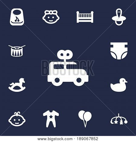 Set Of 13 Baby Icons Set.Collection Of Smock, Teat, Bus And Other Elements.