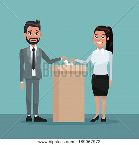 background scene couple male and female people in formal suit vote in urn for candidate vector illustration