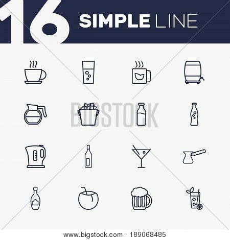 Set Of 16  Outline Icons Set.Collection Of Cocktail, Wine Cask, Hotdrink And Other Elements.