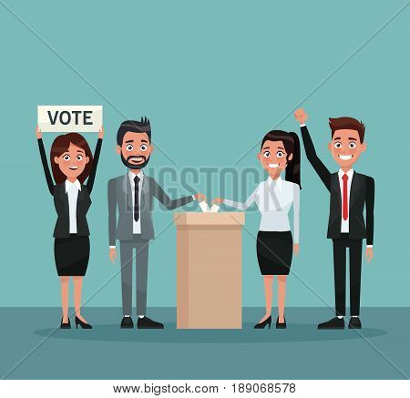 background scene set people in formal suit vote in urn for candidate and banner promoving voting vector illustration