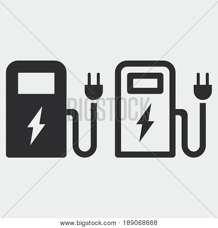 ev station icon solid and outline isolated on grey