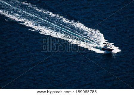 Amazing yacht view at Kornati archipelago of Croatia. Northern part of Dalmatia. Detail of boat at clear sea.
