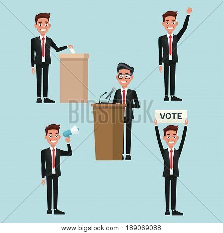 background scene set people male in formal suit in different poses for vote candidacy vector illustration