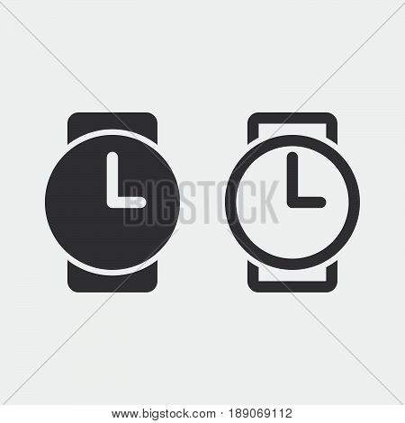 wristwatch icon solid and outline isolated on grey