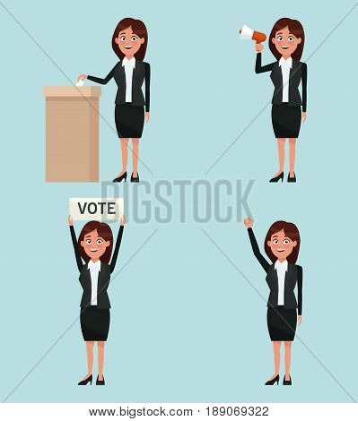 background scene set people female in formal suit in different poses promoving vote candidacy vector illustration