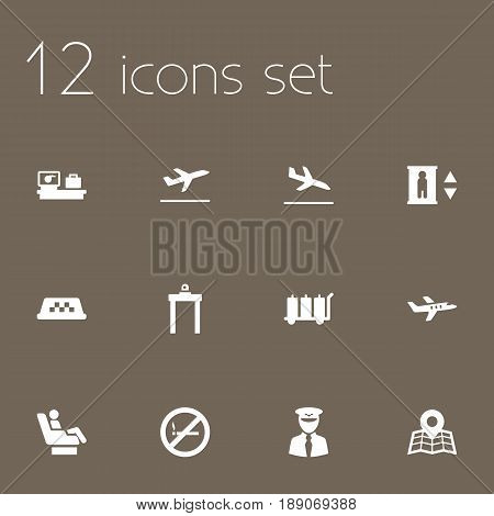 Set Of 12 Aircraft Icons Set.Collection Of Location, Vip, Aircraft And Other Elements.