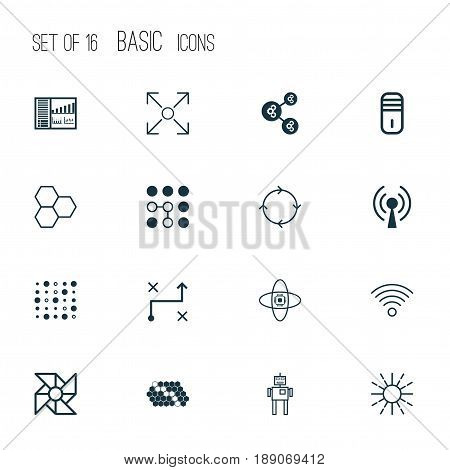 Robotics Icons Set. Collection Of Recurring Program, Mainframe, Branching Program And Other Elements. Also Includes Symbols Such As Cells, Wireless, Information.
