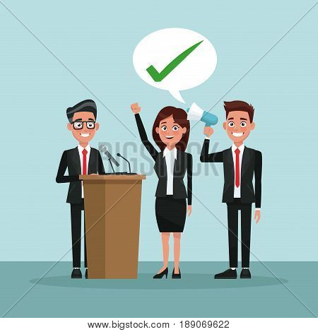 background scene people in formal suit speaks for dialog box with check mark and male candidate in tribune vector illustration