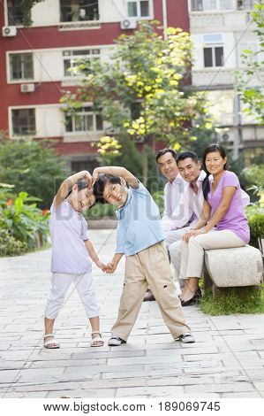 Chinese boys playing outdoors