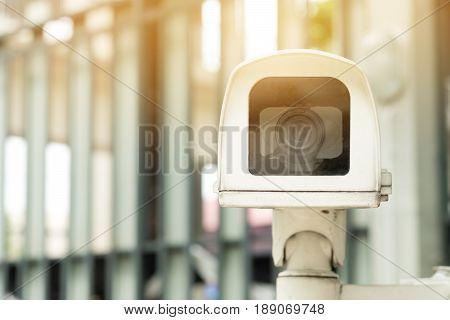Close-up Closed circuit camera or Closed-circuit television (cctv) recording important events.