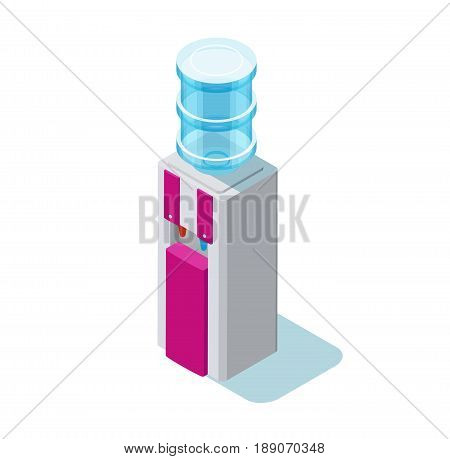 Water cooler isometric vector illustration with water dispenser and blue plastic bottle
