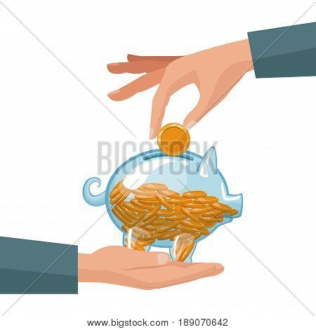 people hands depositing coins in a money piggy bank vector illustration
