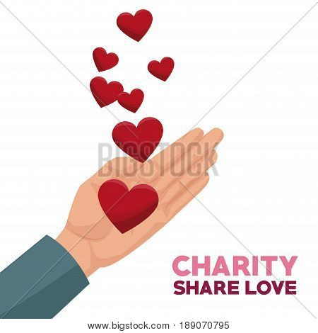 colorful hand with floating hearts charity share love vector illustration