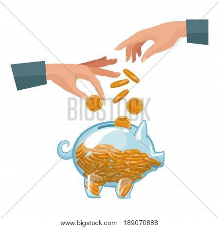 people pair hands depositing coins in a money piggy bank vector illustration