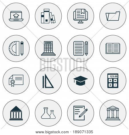 Education Icons Set. Collection Of E-Study, Education Center, College And Other Elements. Also Includes Symbols Such As File, Education, Tools.