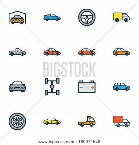 Automobile Colorful Outline Icons Set. Collection Of Automobile, Drive, Cabriolet And Other Elements. Also Includes Symbols Such As Automobile, Van, Mover.