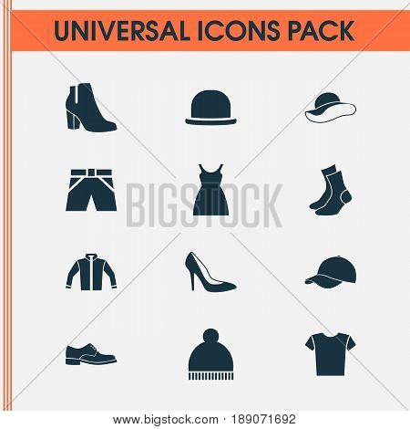 Garment Icons Set. Collection Of Female Winter Shoes, Elegance, Half-Hose And Other Elements. Also Includes Symbols Such As Cap, Beanie, Cloth.