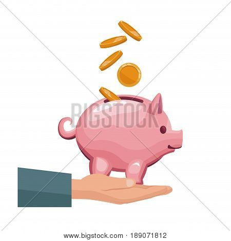 coin depositing in a money piggy bank on human hands vector illustration