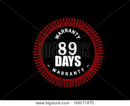 89 days warranty icon vector vintage grunge guarantee background poster