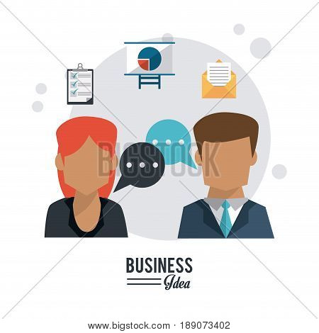colorful poster of business idea with half body faceless of business couple and speech dialogue vector illustration