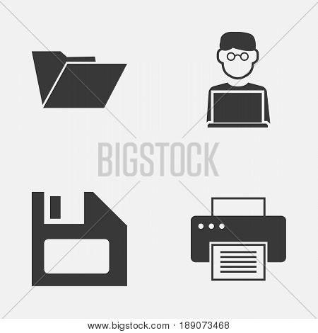 Gadget Icons Set. Collection Of Printing Machine, Dossier, Programmer And Other Elements. Also Includes Symbols Such As File, Printer, Machine.