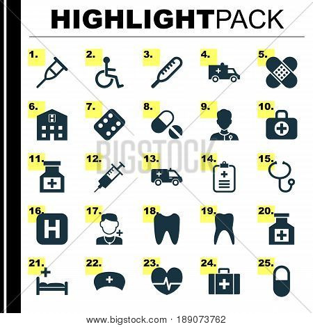 Drug Icons Set. Collection Of Hospital, Painkiller, Polyclinic And Other Elements. Also Includes Symbols Such As Pellets, Retreat, Medical.