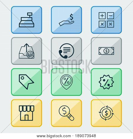 E-Commerce Icons Set. Collection Of Telephone, Calculation Tool, Business Inspection And Other Elements. Also Includes Symbols Such As Research, Paid, Label.