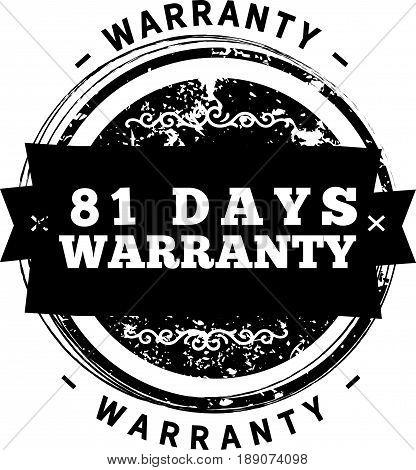 81 days warranty icon vector vintage grunge guarantee background