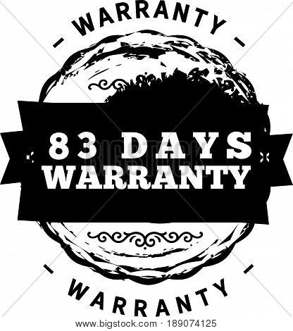 83 days warranty icon vector vintage grunge guarantee background