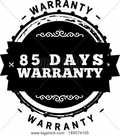 85 days warranty icon vector vintage grunge guarantee background