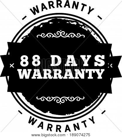 88 days warranty icon vector vintage grunge guarantee background