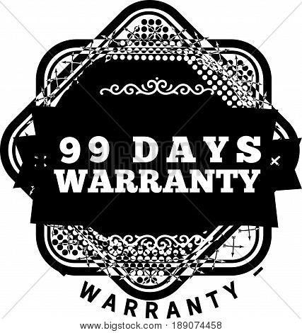 99 days warranty icon vector vintage grunge guarantee background