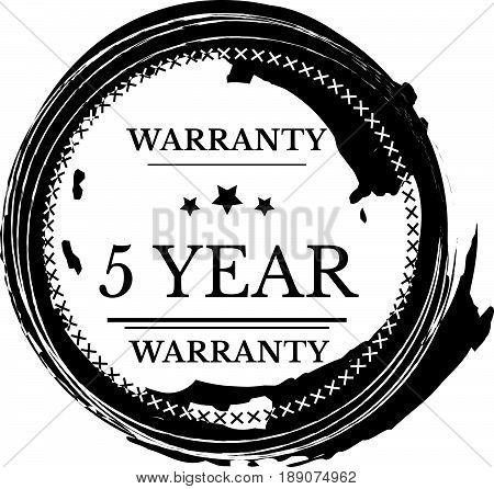 5 year warranty icon vector vintage grunge guarantee background