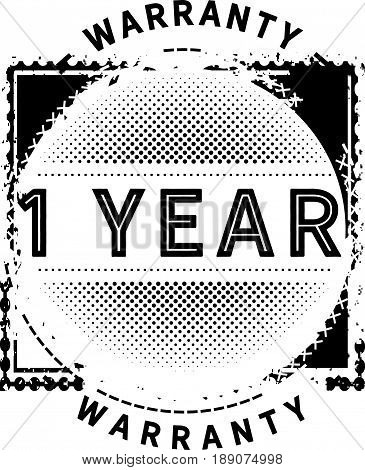 1 year warranty icon vector vintage grunge guarantee background