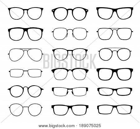 Monochrome glasses for sight with a transparent glass in a black frame. Protection from sun and ultraviolet rays. Fashion accessory