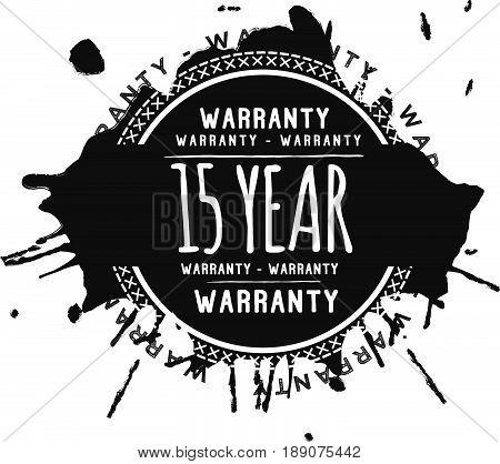 15 year warranty vintage grunge black rubber stamp guarantee background