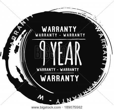 9 year warranty vintage grunge black rubber stamp guarantee background