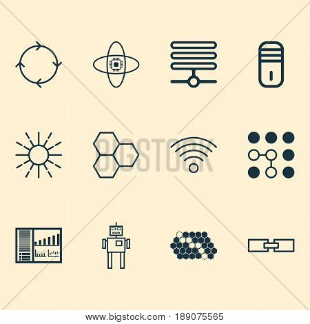 Artificial Intelligence Icons Set. Collection Of Recurring Program, Lightness Mode, Wireless Communications And Other Elements. Also Includes Symbols Such As Board, Robot, Brightness.