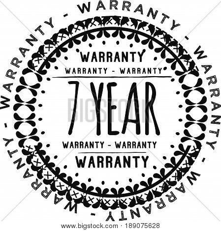 7 year warranty vintage grunge black rubber stamp guarantee background