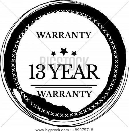 13 year warranty vintage grunge black rubber stamp guarantee background
