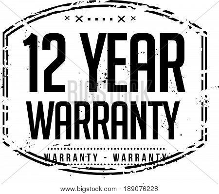 12 year warranty icon vector vintage grunge guarantee background