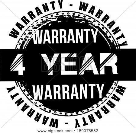4 year warranty vintage grunge rubber stamp guarantee background