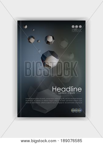 Cover template with futuristic low poly rocks - asteroids in the space on dark grey background. Good for science and education annual report conference journal book banner flyer business report.