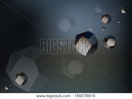 Futuristic low poly rocks - asteroids in the space on dark grey background. Good for science and education. Vector.