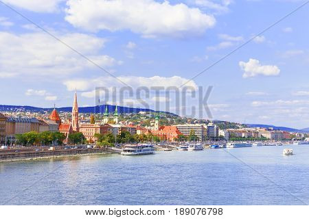 Hungary. Budapest. A riverside view on Buda