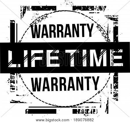 lifetime warranty vintage grunge rubber stamp guarantee background