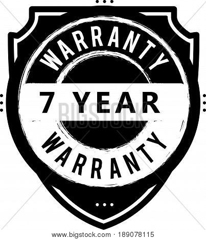 7 year warranty vintage grunge rubber stamp guarantee background