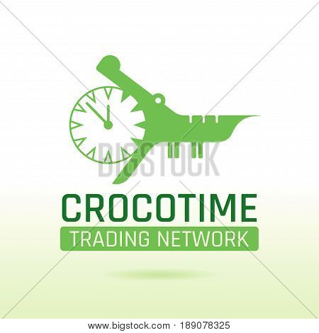 Green crocodile alligator animal icon. Text lettering logo. Alarm clock mouth jaw. Abstract template. Isolated on white, flat vector illustration silhouette.